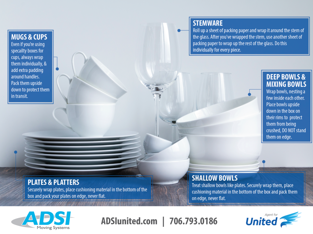 Safe Packing tips for mugs, cups, stemware, bowls, plates, and platters.