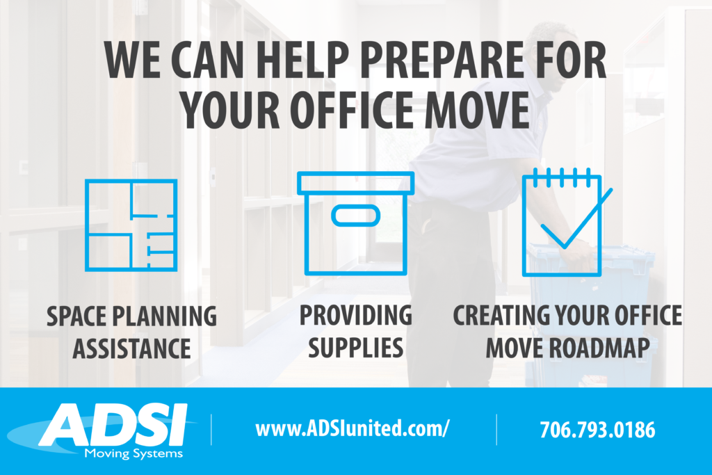 We can help prepare for your office move with space planing assistance, providing supplies, and creating your office move roadmap.