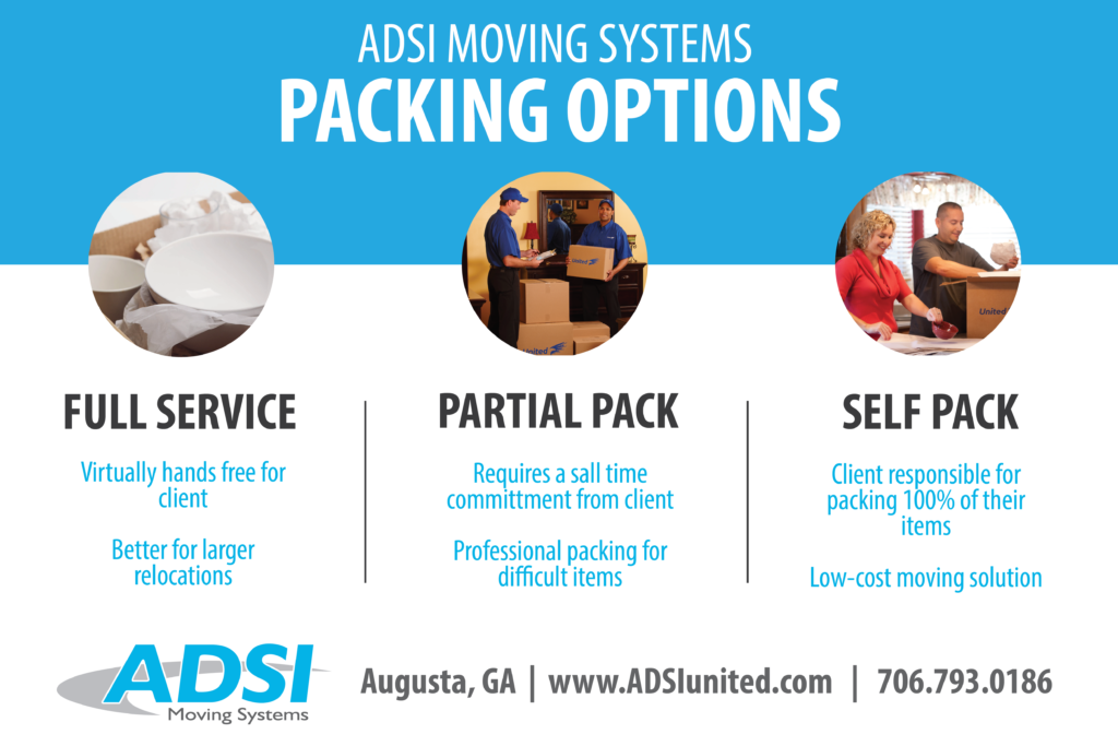Packing options: Full service, partial pack, self pack.