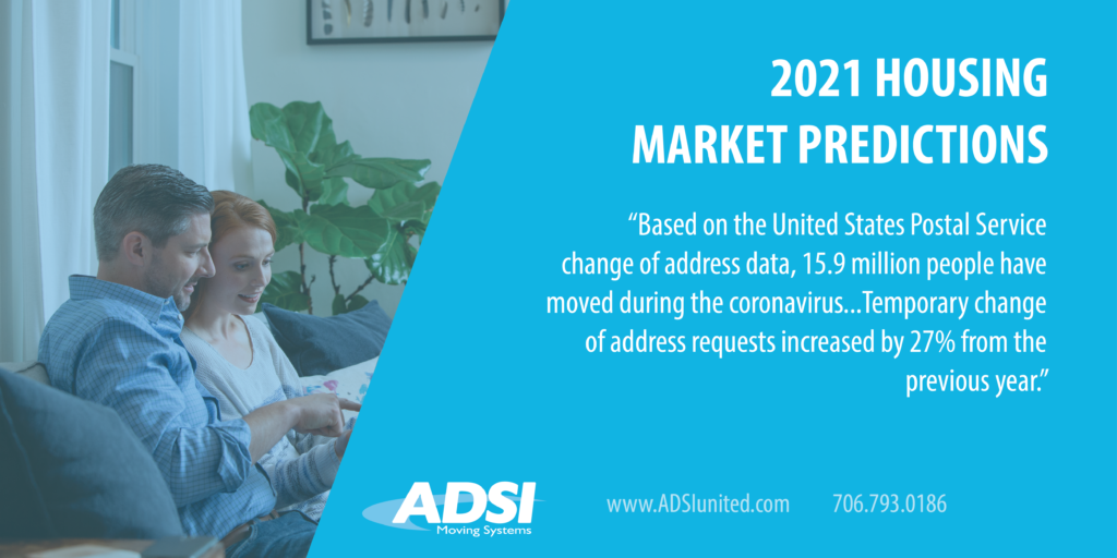 "2021 Housing Market Predictions: Based on the United States Postal Service change of address data, 15.9 million people have moved during the coronavirus...Temporary change of address requests increased by 27% from the previous year.""   www.ADSIunited.com 706.793.0186"