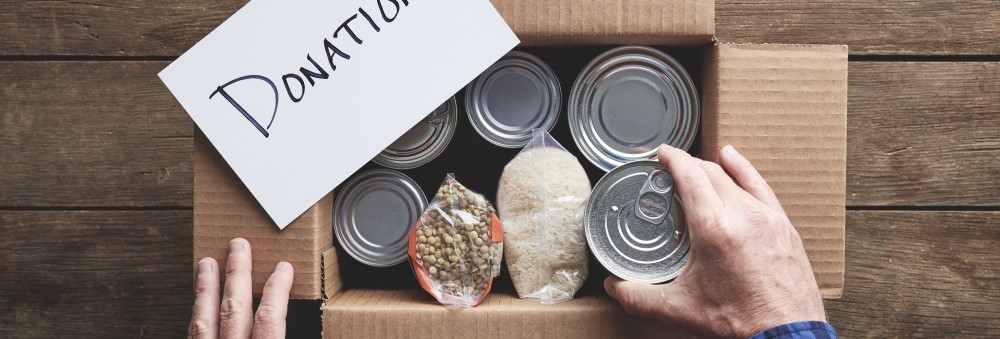 An image of a donation box being packed.